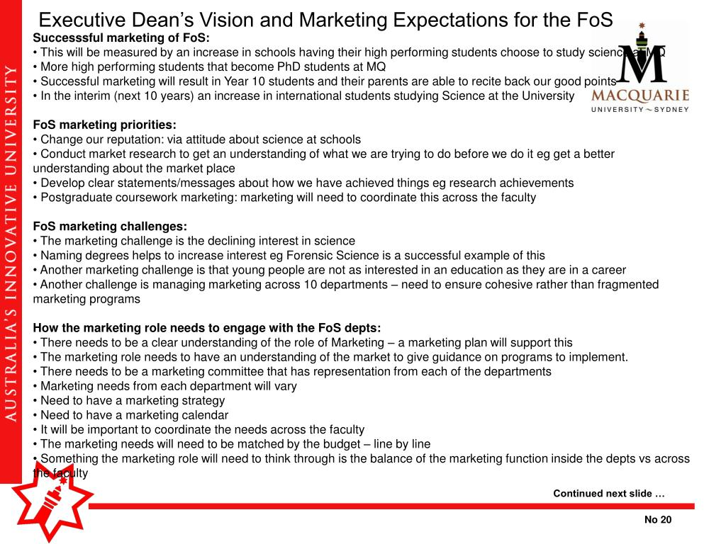 Executive Dean's Vision and Marketing Expectations for the FoS