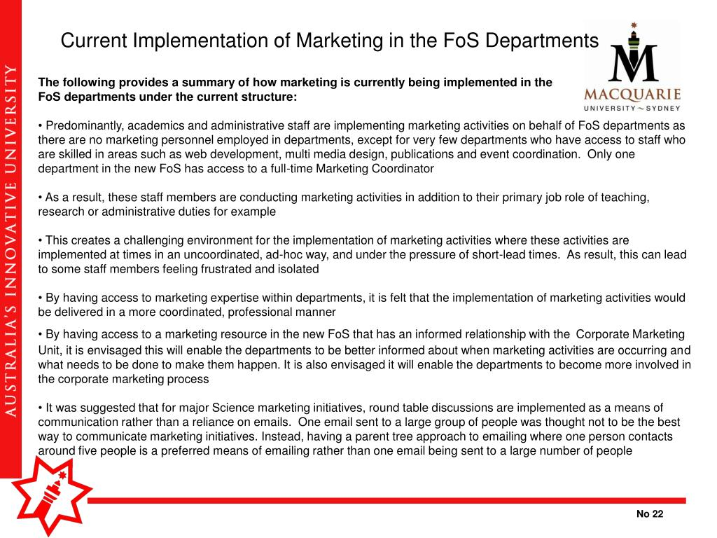 Current Implementation of Marketing in the FoS Departments