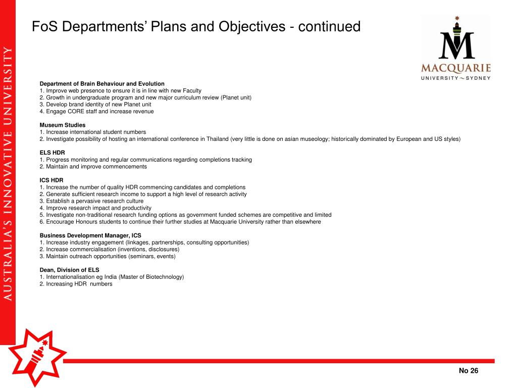 FoS Departments' Plans and Objectives - continued