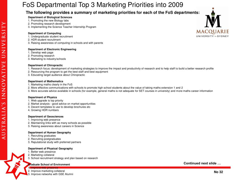 FoS Departmental Top 3 Marketing Priorities into 2009