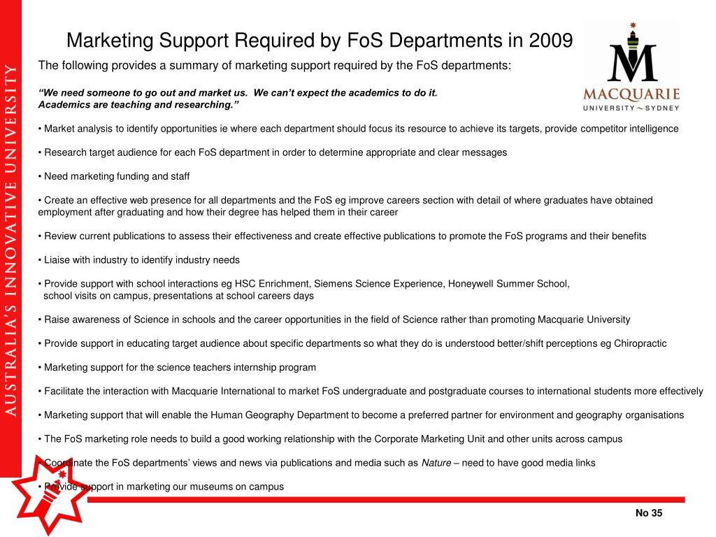 Marketing Support Required by FoS Departments in 2009