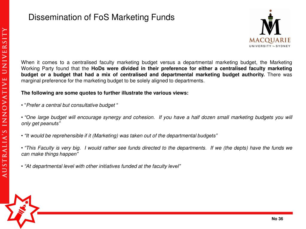 Dissemination of FoS Marketing Funds