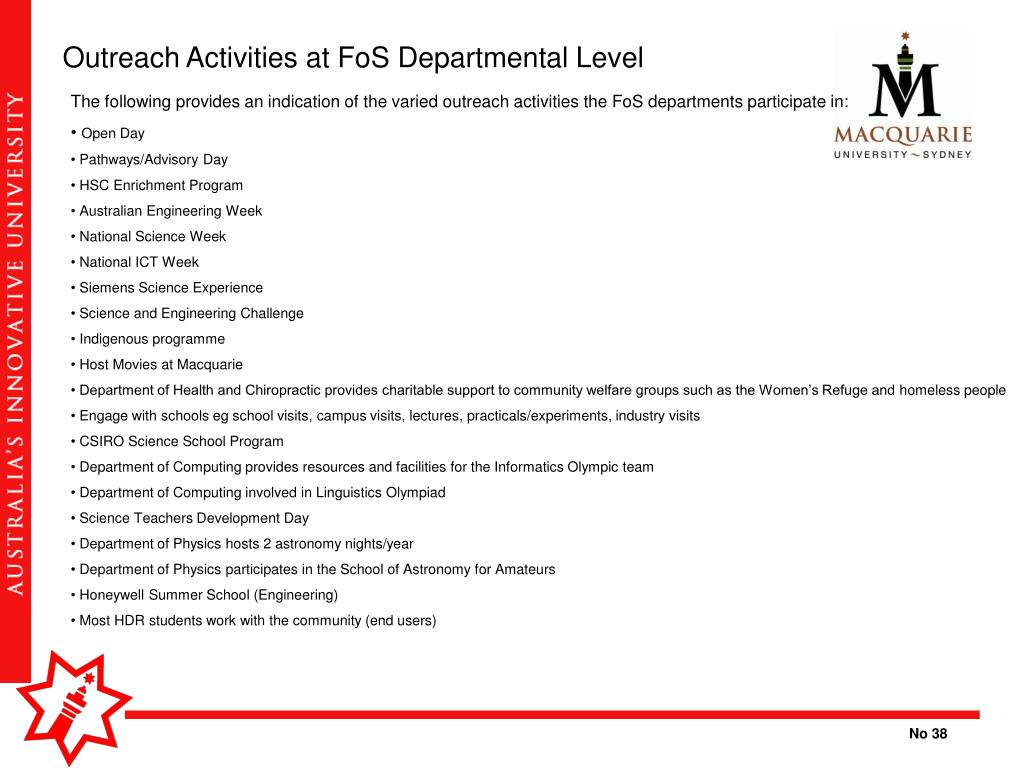 Outreach Activities at FoS Departmental Level