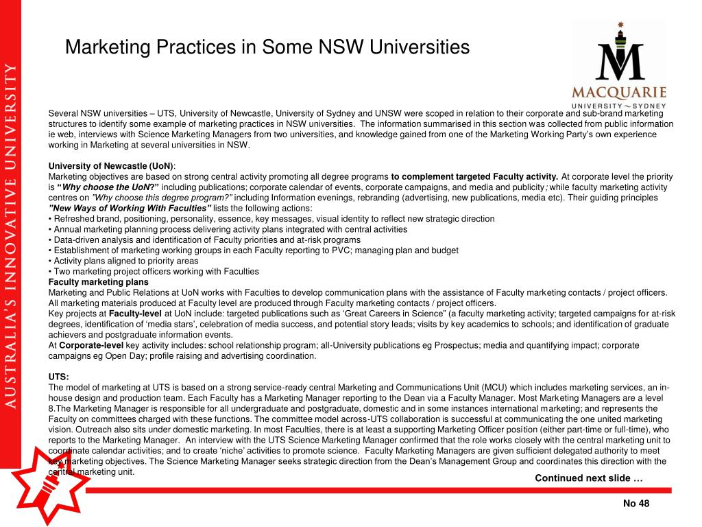 Marketing Practices in Some NSW Universities