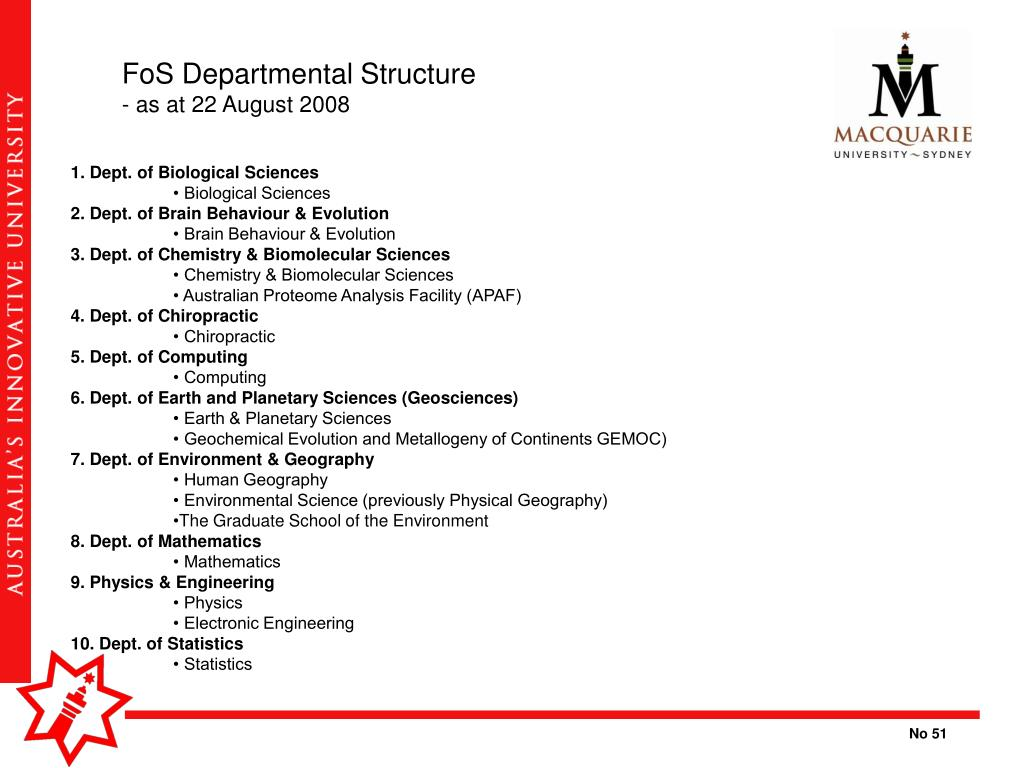 FoS Departmental Structure
