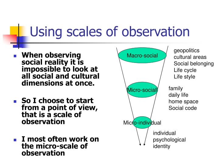 Using scales of observation