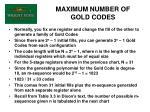 maximum number of gold codes