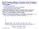 partitioning major cycles into frames
