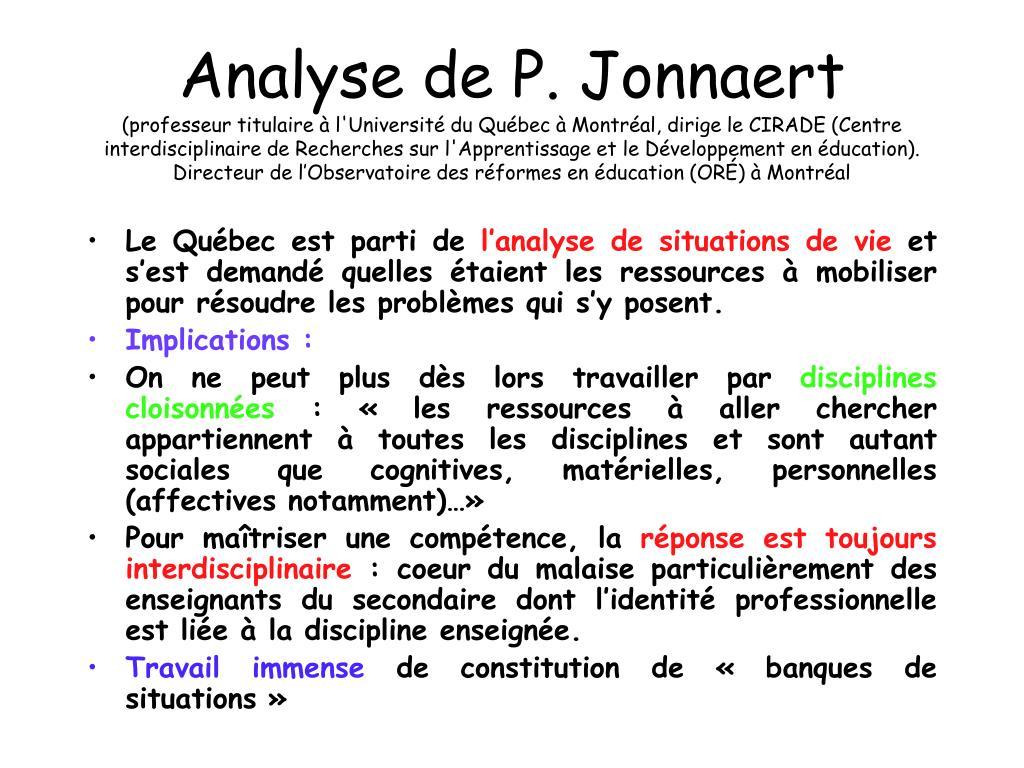 Analyse de P. Jonnaert