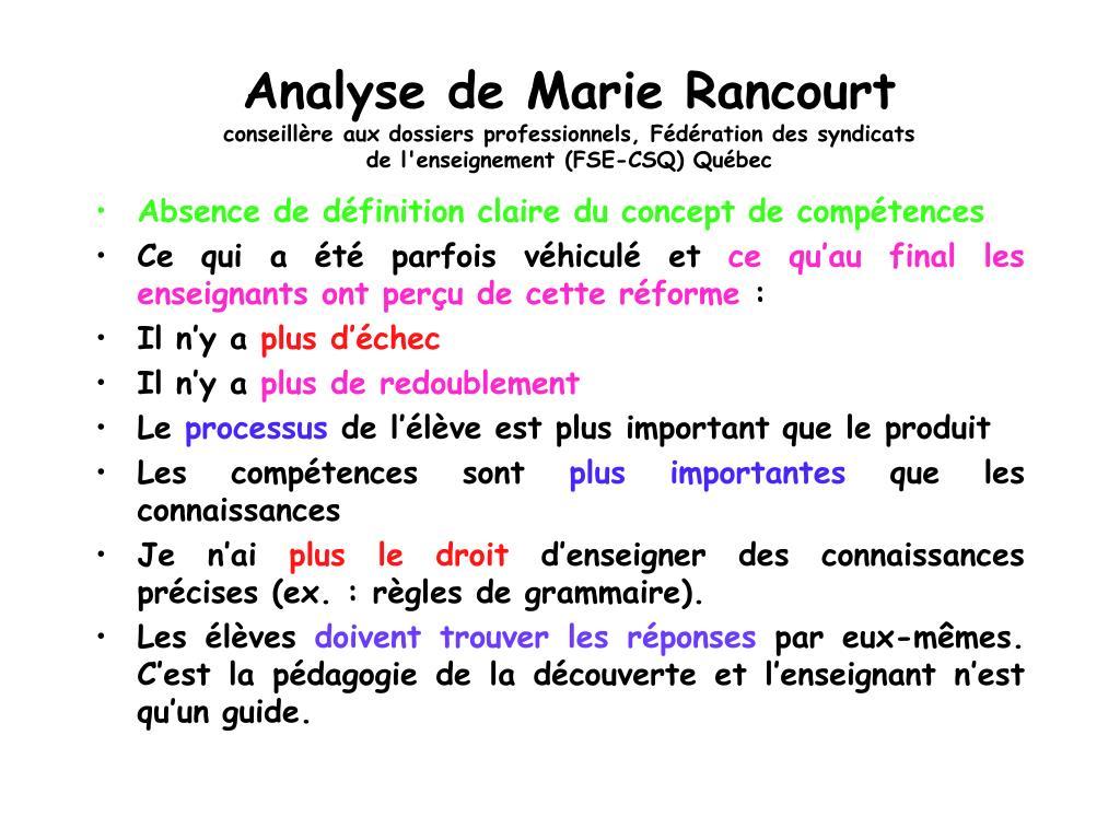 Analyse de Marie Rancourt