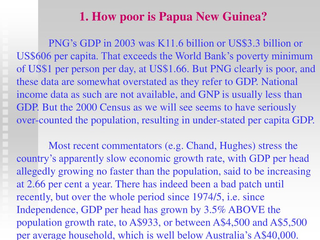 1. How poor is Papua New Guinea?