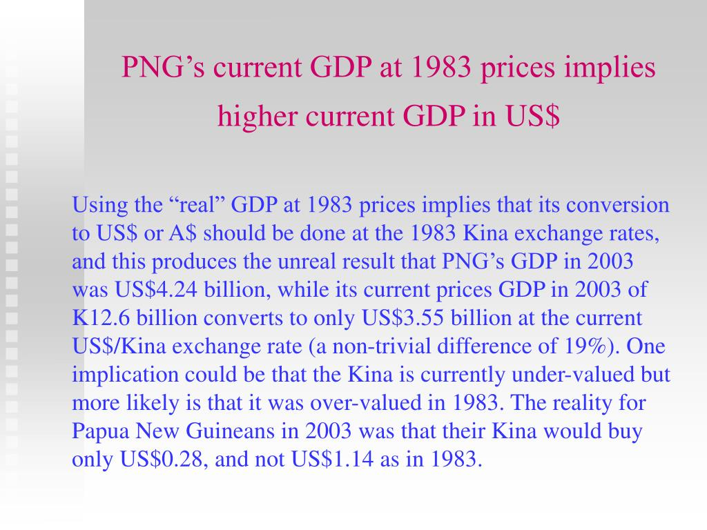 PNG's current GDP at 1983 prices implies higher current GDP in US$