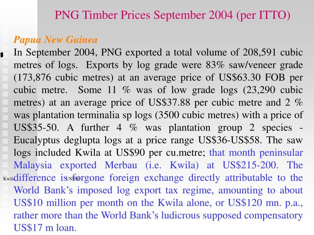 PNG Timber Prices September 2004 (per ITTO)