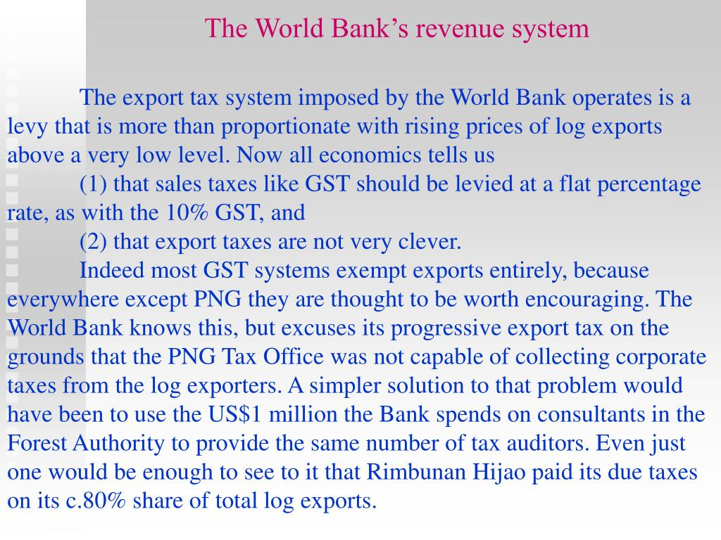 The World Bank's revenue system