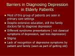 barriers in diagnosing depression in elderly patients