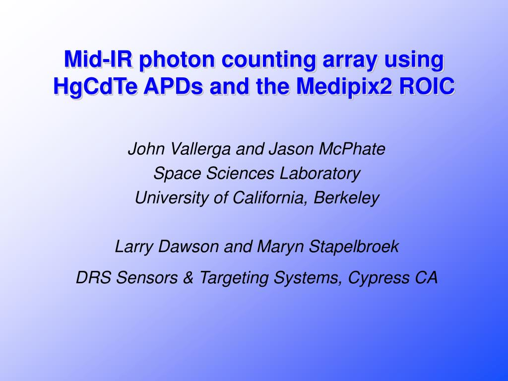 mid ir photon counting array using hgcdte apds and the medipix2 roic l.