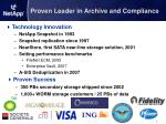 proven leader in archive and compliance