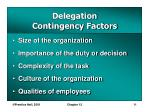 delegation contingency factors