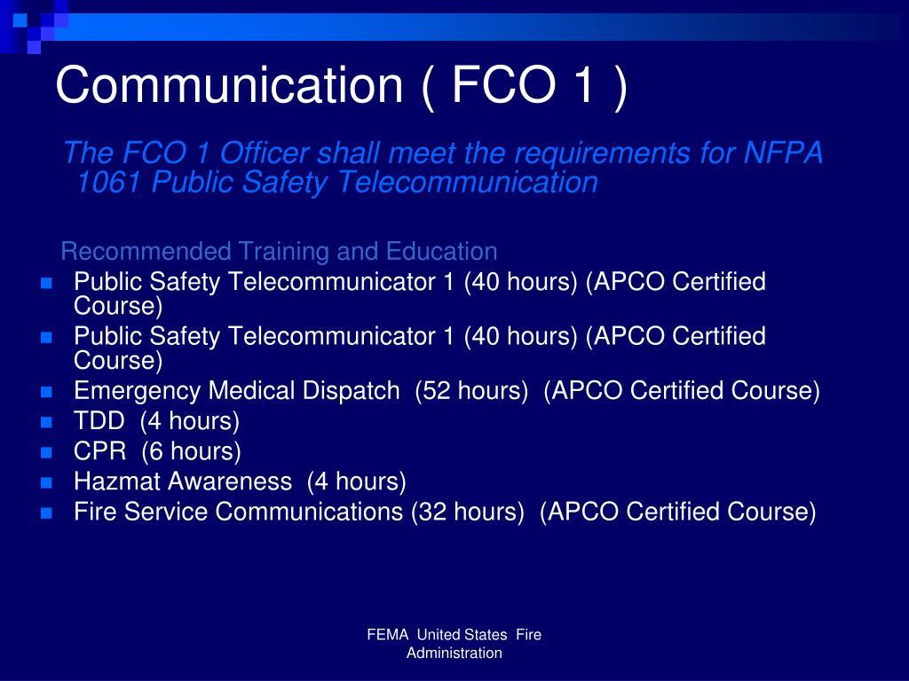 Communication ( FCO 1 )