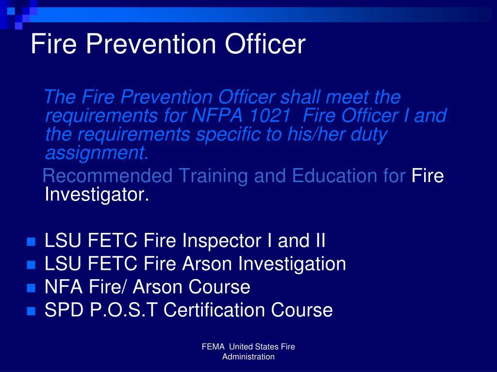 Fire Prevention Officer