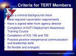criteria for tert members