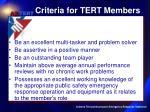 criteria for tert members10