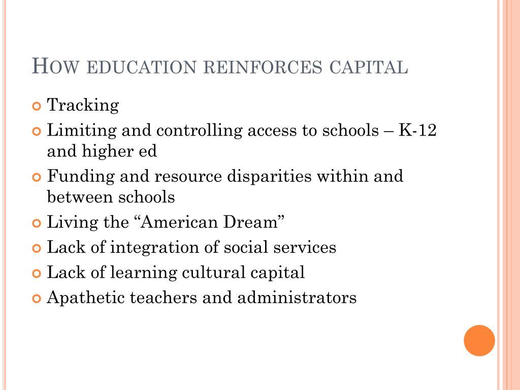 How education reinforces capital