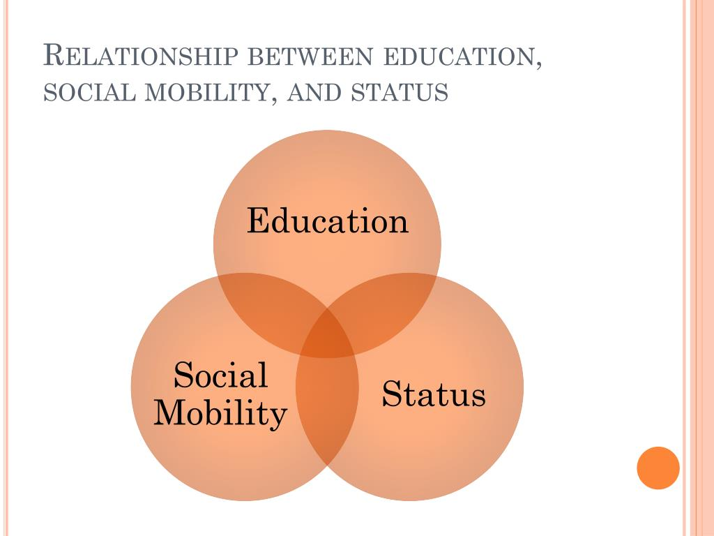 Relationship between education, social mobility, and status