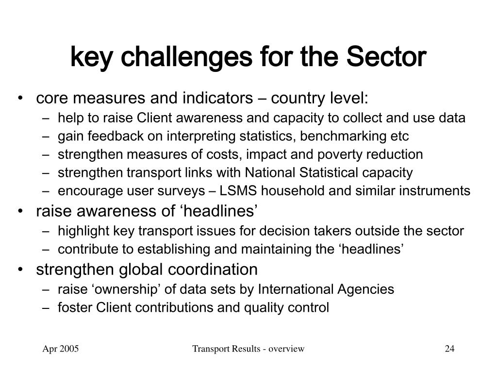 key challenges for the Sector