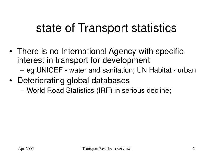 State of transport statistics