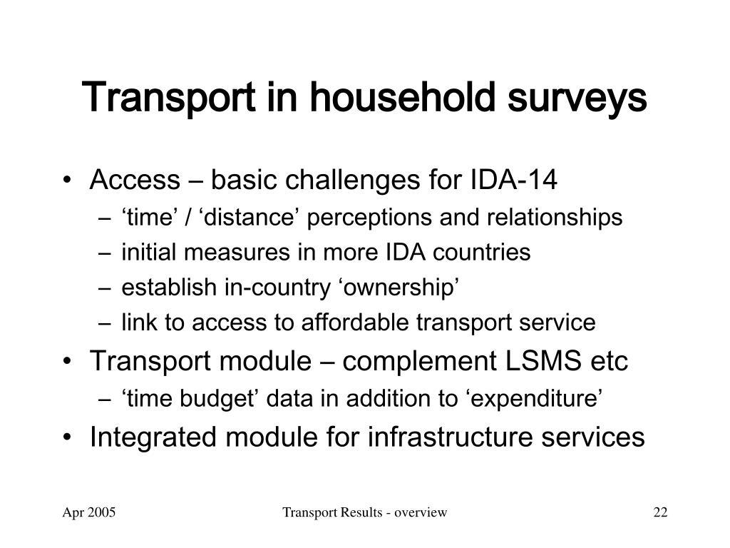Transport in household surveys