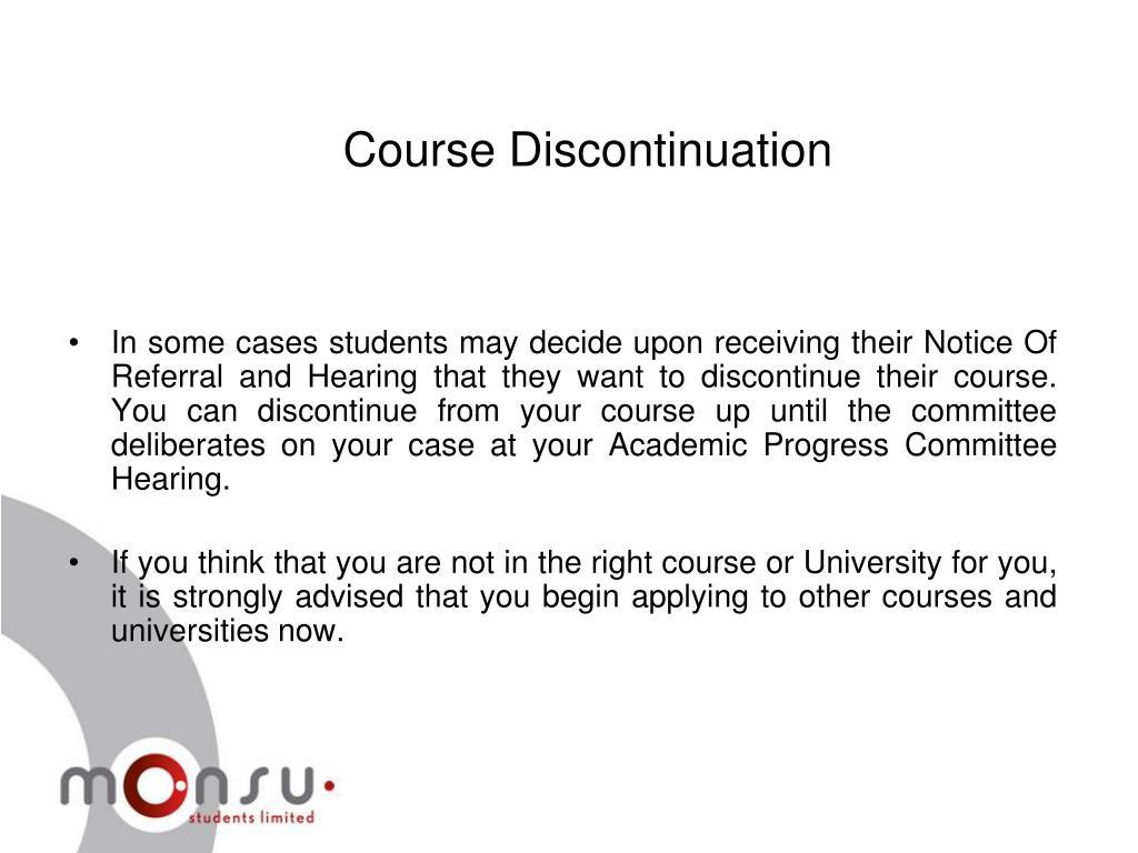 Course Discontinuation