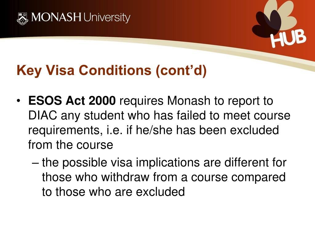 Key Visa Conditions (cont'd)