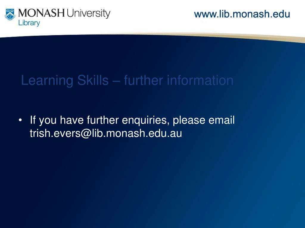 Learning Skills – further information