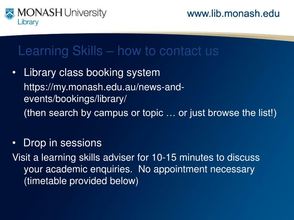 Learning Skills – how to contact us