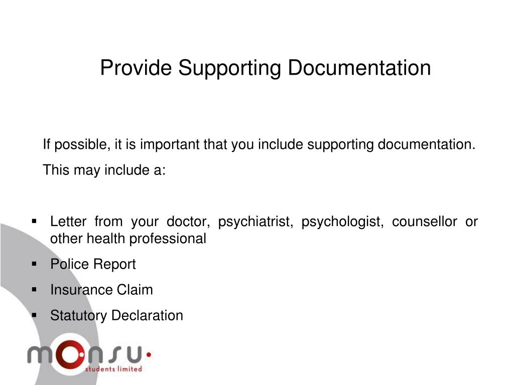 Provide Supporting Documentation