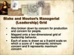 blake and mouton s managerial leadership grid