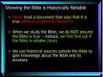 showing the bible is historically reliable
