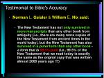 testimonial to bible s accuracy