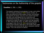 testimonies on the authorship of the gospels13