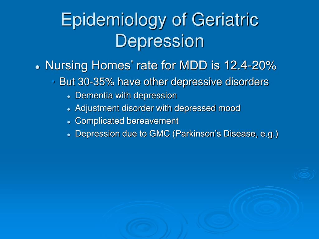 dementia major depressive disorder and geriatric Depression in the elderly often increases their risk of cardiac diseases cancer, dementia family history of major depressive disorder fear of death.