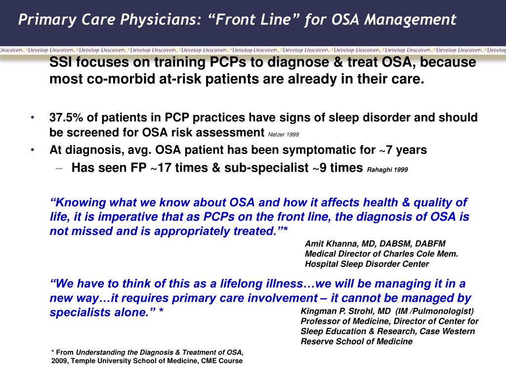 """Primary Care Physicians: """"Front Line"""" for OSA Management"""