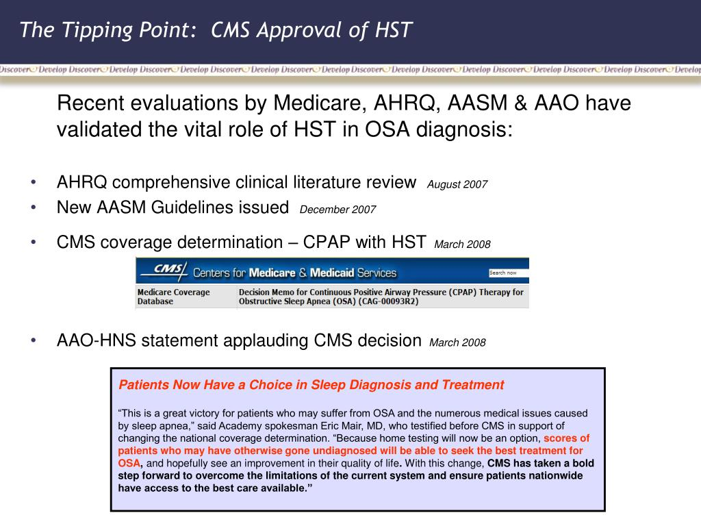 The Tipping Point:  CMS Approval of HST
