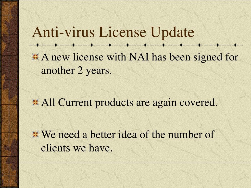 Anti-virus License Update
