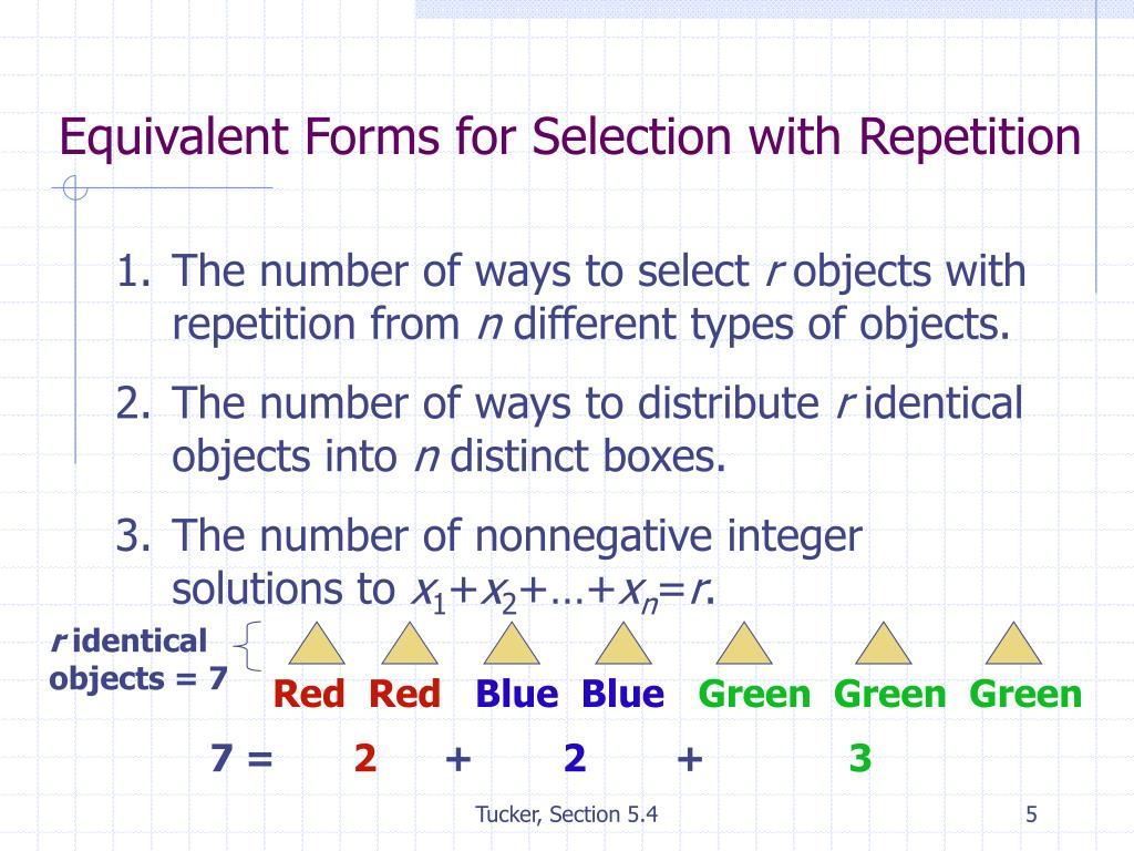 Equivalent Forms for Selection with Repetition