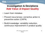 investigation deviations add value impact quality