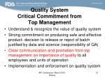 quality system critical commitment from top management