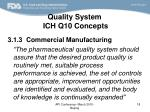 quality system ich q10 concepts