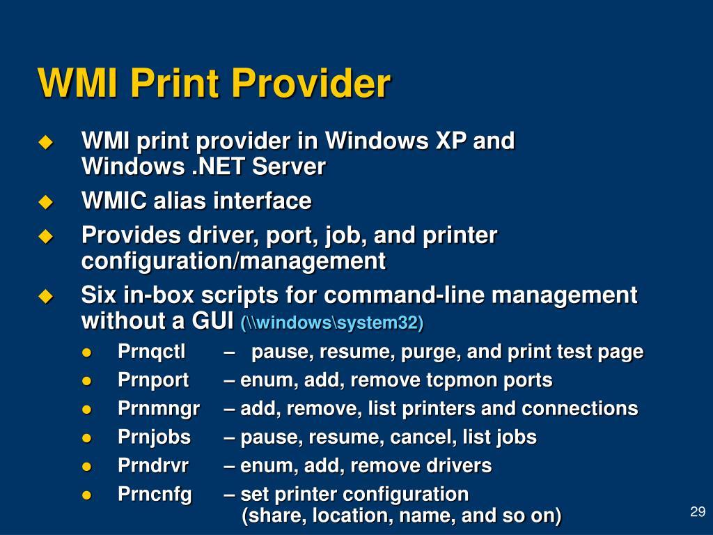 WMI Print Provider