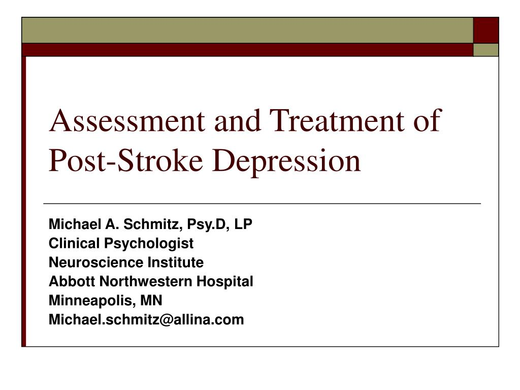 assessment and treatment of post stroke depression l.